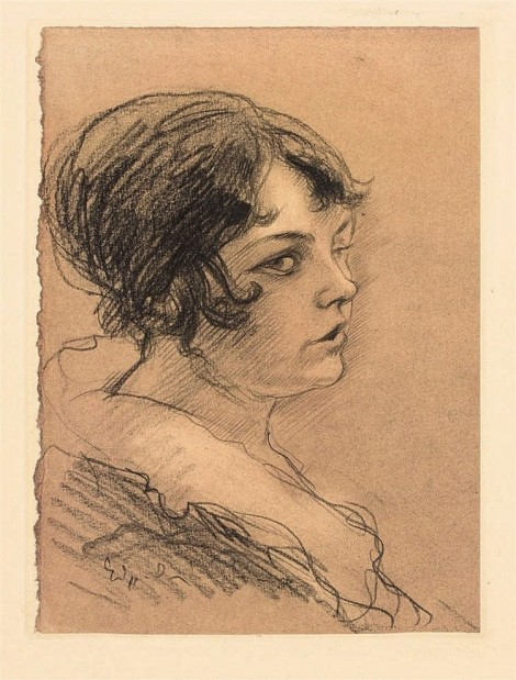 PORTRAIT OF YOUNG WOMAN IN PROFILE, an art piece by Edgar Chahine