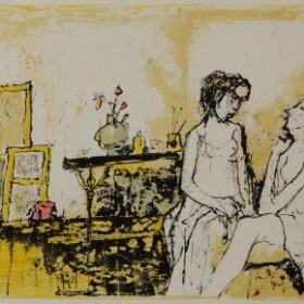 Atelier au rideau fleuri, an art piece by Jean Jansem