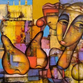 Woman with Pears, an art piece by Romeo Avagyan