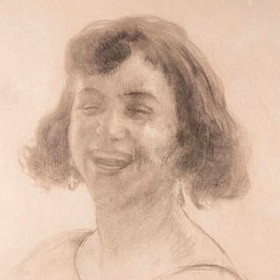 Young woman smiling, an art piece by Edgar Chahine